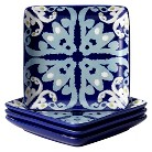 "Rachael Ray Ikat Square Appetizer Plate Set of 4 - Blue (6"")"