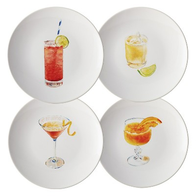 "Rachael Ray Cocktails Salad Plate Set of 4 - Assorted Colors (8.25"")"