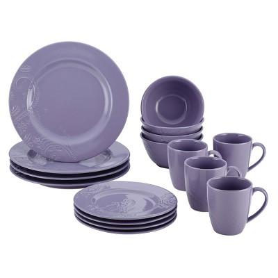 Bonjour Paisley Vine 16 Piece Dinnerware Set - Lavender