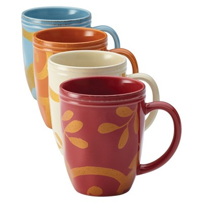 Rachael Ray Gold Scroll Mugs Set of 4 - Assorted Colors (12 oz.)