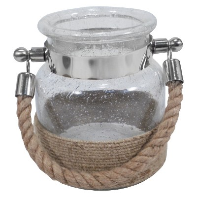 Seeded Bubble Glass Rope-Handle Lantern - Threshold™