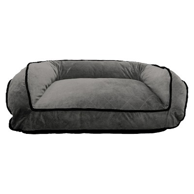 Canine Creations Orthopedic Luxor Quilt Soft Velvet Couch Style Bolster Bed - Charcoal