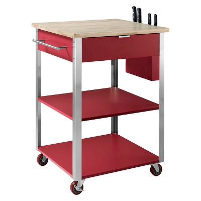 Culinary Wood Top Prep Kitchen Cart Metal/Red - Crosley