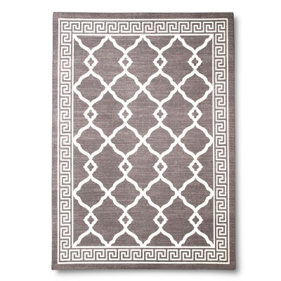 Greek Key Border Area Rug - Grey (7'x10')