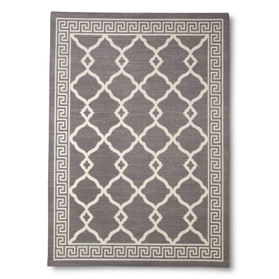 Greek Key Border Area Rug - Grey (5'x7')