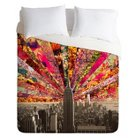 DENY Designs Blooming NYC Lightweight Duvet Cover - Red/Gray (Queen)