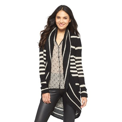 Stripe Cardigan Shawl Sweater - nitrogen