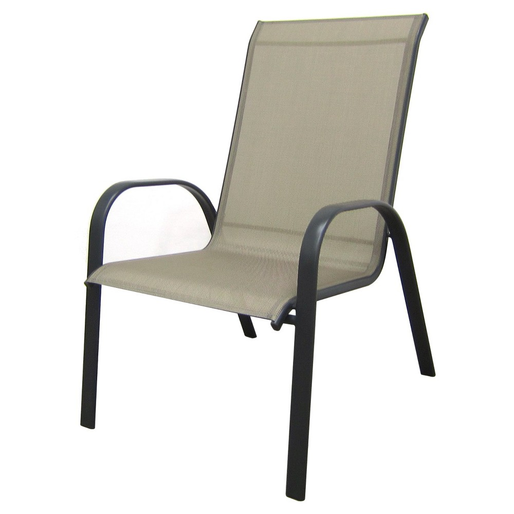 PATIO STACKING CHAIR ROOM ESSENTIALS STACK SLING DEEP CHAIR TAN