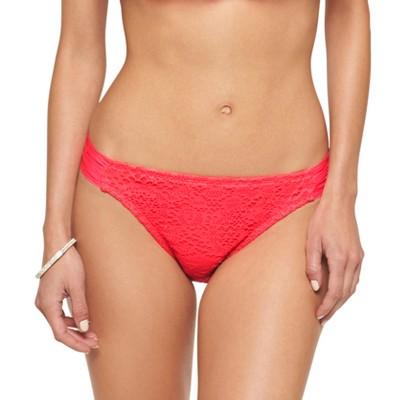 Women's Crochet Tab Side Bikini Bottom Coral Island  L - Mossimo