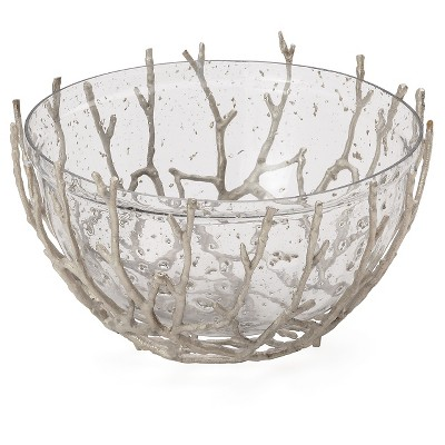 Decorative Bowl Torre & Tagus Clear Beige Aluminum