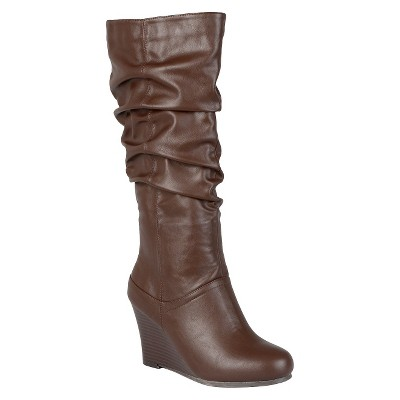Women's Journee Collection Slouchy Wedge Boots - Brown 6