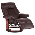 Southern Enterprises Norbert Recliner with Ottoman - Brown