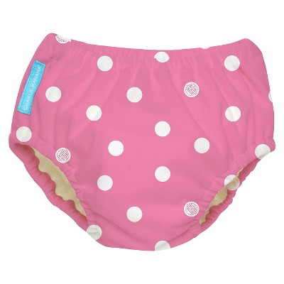 Charlie Banana Reusable Swim Diaper - Size Small, Polka Dots on Pink