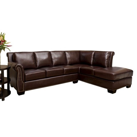 abbyson living penkridge leather sectional product details page