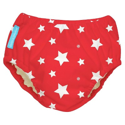 Charlie Banana Reusable Swim Diaper - Size Large, Red/White Stars