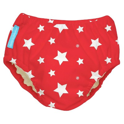 Charlie Banana Reusable Swim Diaper - Size Small, Red/White Stars