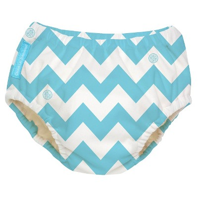 Charlie Banana Reusable Swim Diaper - Size Medium, Blue Chevron