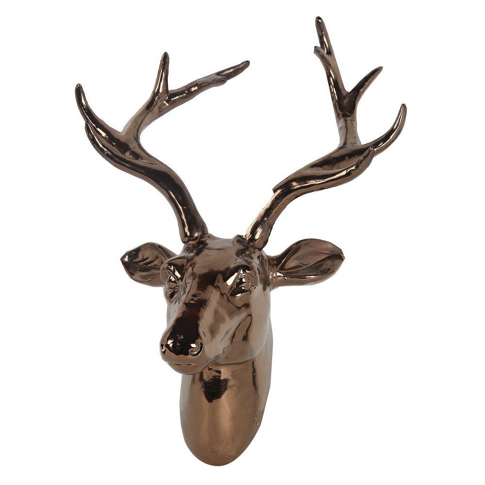 Privilege Ceramic Deer Head Wall Sculpture - Metallic Copper
