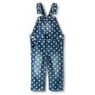 Toddler Girls' Polka Dot Overalls - Denim Blue
