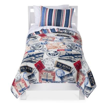 Castle Hill Vintage Stamp Quilt Set - Ivory/Blue/Red (Twin)