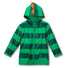 Toddler Boys' Striped Dinosaur Raincoat - Green