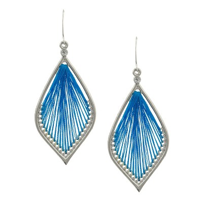 Women's Double Layered Dreamcatcher Earring with Threading - Blue
