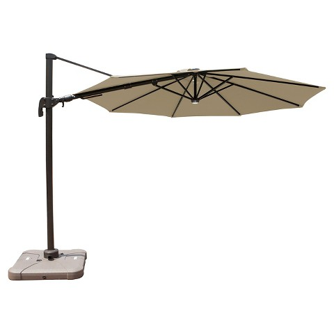 10 39 aluminum solar light offset patio umbrella with base product. Black Bedroom Furniture Sets. Home Design Ideas