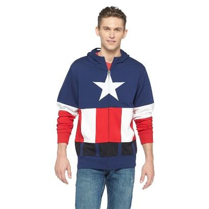 Image of Men's Captain America Halloween Costume Fleece Hoodie