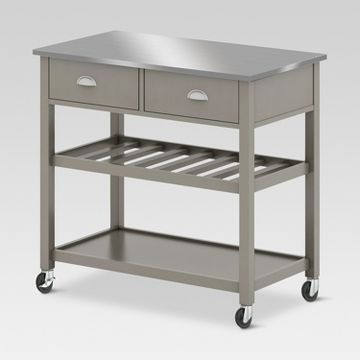 Target Threshold Kitchen Island With Wine Rack