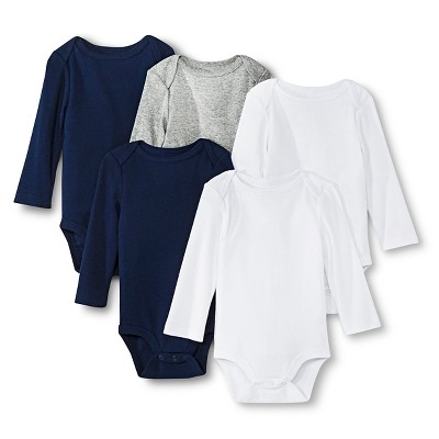 Newborn Boys' 5 Pack Longsleeve Bodysuit White/Gray/Blue - Circo 3-6M