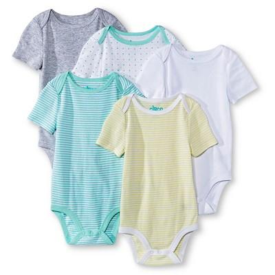 Newborn 5 Pack Shortsleeve Bodysuit White/Aqua/Gray - Circo 24M