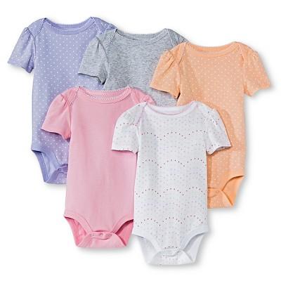 Circo Newborn Girls' 5 Pack Shortsleeve Bodysuit - Newborn