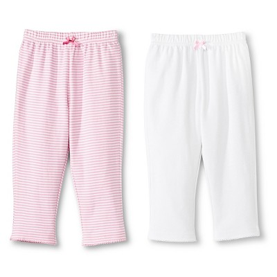 Newborn Girls' 2 Pack Basic Pant Pink/White - Circo 3-6M