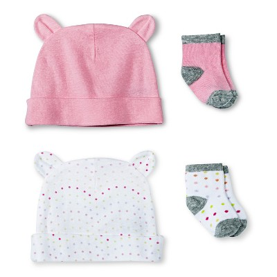 Newborn Girls' Hat and Sock Set - Fun Pink