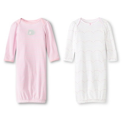 Newborn Girls' 2 Pack Gown Pink/White - Circo 0-3M