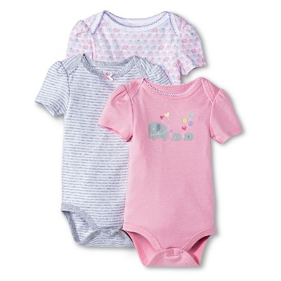 Newborn Girls' 3 Pack Shortsleeve Bodysuit Pink - Circo 3-6M