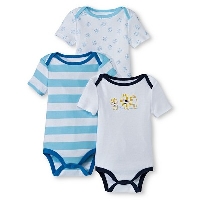 Newborn Boys' Short Sleeve Lion Bodysuit - Alabaster Blue 3-6 M