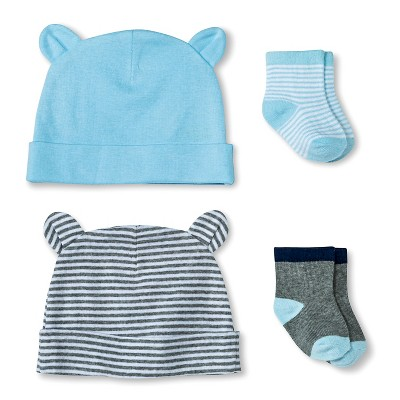 Newborn Boys' Hat and Sock Set - Alabaster Blue