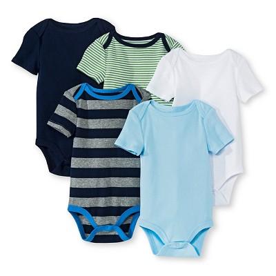 Newborn Boys' 5 Pack Shortsleeve Bodysuit Blue - Circo 3-6M