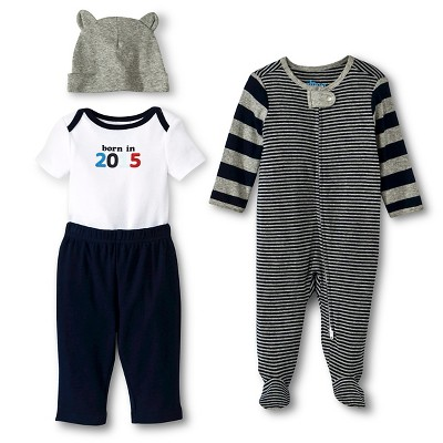 Newborn Boys' 4 Pack Set Blue/Gray - Circo 0-3M