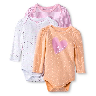 Newborn Girls' 3 Pack Longsleeve Bodysuit - Circo 0-3M