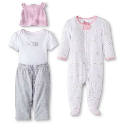 Newborn Girls' 4 Pack Set - Fun Pink 0-3 Months