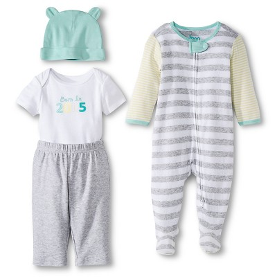 Newborn 4 Piece Layette Set - Heather Grey 3-6 Months