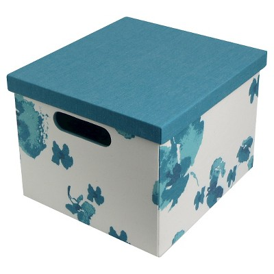 RE 11.5inTeal floral exterior Lidded Milk Crate s/2