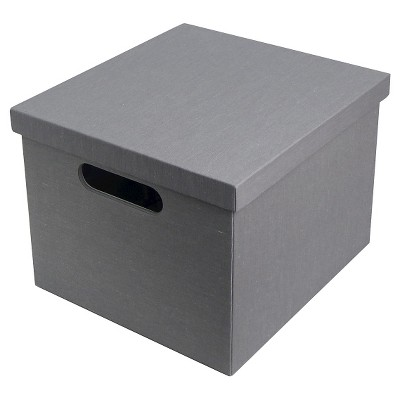 RE 11.5in Gray solid exterior Lidded Milk Crate s/2