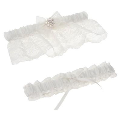 Somerset White Bridal Garter Set