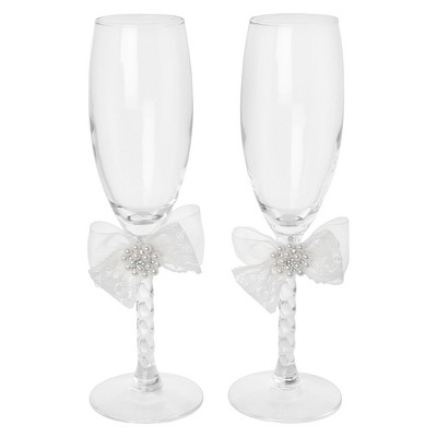 Delilah Clear Wedding Toasting Flutes - 2 ct.
