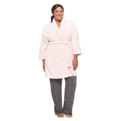 dluxe by Dearfoams Women's Plus-Size Plush Robe Pink Polka Dot