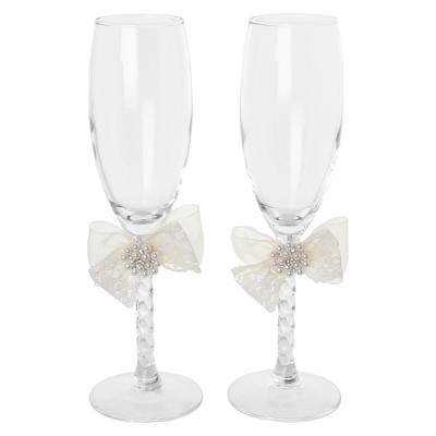 Delilah Cream Wedding Toasting Flutes - 2 ct.