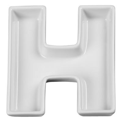 White Ceramic Letter Dish - R